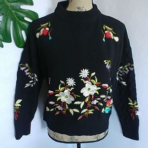 Woven Heart Floral Embroidered Sweater